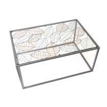 Table basse 80x54x40 cm en métal décor feuilles