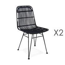 Lot de 2 chaises en rotin noir et métal - KLUPS