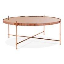 Table basse design ronde 83x35 cm en verre et métal cuivré - JULIO