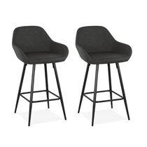 Lot de 2 chaises de bar 60x48x90 cm H64 cm en PU et métal noir