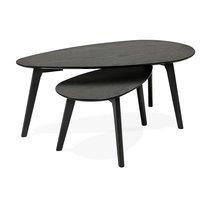 Lot de 2 tables basses forme galet en décor chêne noir