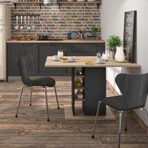 Table à manger 120 cm avec rangements décor chêne clair et noir