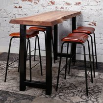 Table de bar 150 cm en acacia et métal noir - STACY