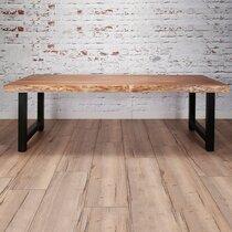 Table à manger 200 cm en acacia et métal noir - STACY