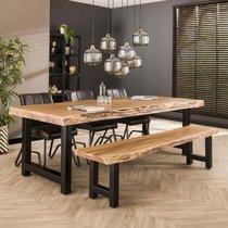 Table à manger 240 cm en acacia et métal noir - STACY