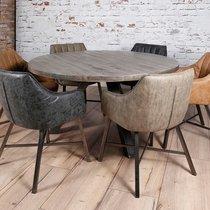Table ronde 140 cm en manguier massif grisé et acier - TRAPPY