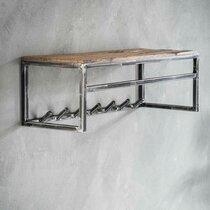 Portemanteau 80x27 cm en bois brut et métal - GRANY