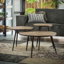 Lot de 3 tables basses rondes 70, 55 et 40 cm en teck grisé - TREKA