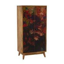 Armoire 2 portes 70x42,5x140 en manguier avec décor multicolore
