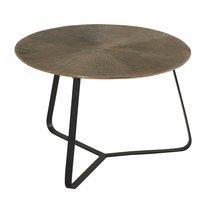 Table basse ronde 59x40 cm avec plateau finition doré vieilli