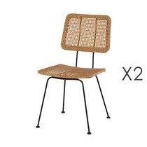 Lot de 2 chaises 47x56x57 cm imitation osier naturel