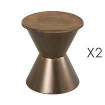 Lot de 2 tabourets ronds 41,5 cm en chêne et métal bronze