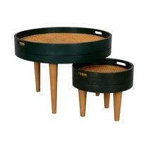 Lot de 2 tables basses rondes 70 et 40 cm vert foncé avec cannage naturel - KAN