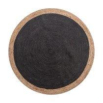 Tapis rond 120 cm en jute naturel et noir