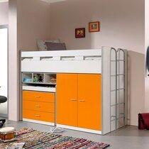Lit combiné 90x200 cm avec rangements et bureau orange - ASSIA