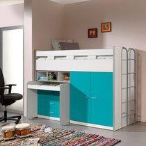Lit combiné 90x200 cm avec rangements et bureau turquoise - ASSIA