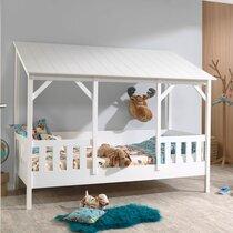 Lit cabane 90x200 cm avec sommier et toit blanc - HUTTY