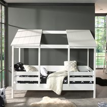 Lit cabane 90x200 cm avec sommier en pin blanc - HUTTY