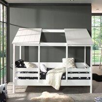 Lit cabane 90x200 cm avec sommier et matelas en pin blanc - HUTTY