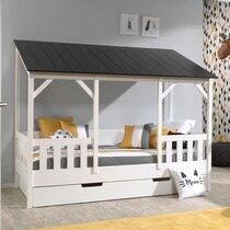 Lit cabane 90x200 cm avec tiroir et toit noir - HUTTY