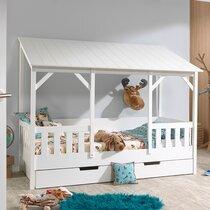 Lit cabane 90x200 cm avec tiroir et toit blanc - HUTTY