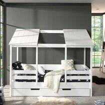Lit cabane 90x200 cm avec tiroir en pin blanc - HUTTY