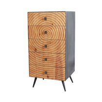 Chiffonnier 5 tiroirs 45,5x40x90 cm en bois et métal