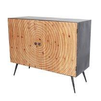 Buffet 2 portes 100x40x82 cm en bois et métal