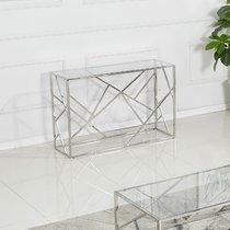 Console design 120x40x78 cm en verre et métal argent