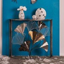 Console demi  lune 90x36x80 cm en métal avec motif fleurs