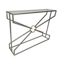Console géométrique 110x25,5x80 cm en métal et verre