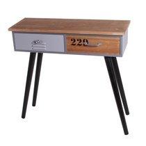 Console 2 tiroirs 80x30x79 cm en bois et métal - LOGAN