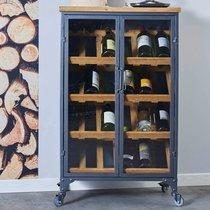 Meuble range-bouteilles 2 portes 60x38x100 cm en métal et bois - JAMES