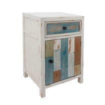 Chevet 1 porte et 1 tiroir en bois blanc et multicolore