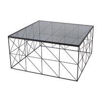 Table basse carrée 76 cm en verre et métal avec piètement quadrillage - GEOMY
