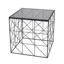 Bout de canapé carré 45 cm en verre et métal piètement quadrillage - GEOMY
