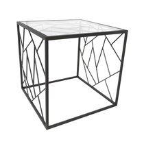 Bout de canapé carré 50 cm en métal avec piètement triangles - GEOMY