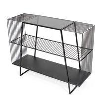 Etagère 3 niveaux 100x32x78 cm en verre fumé et métal
