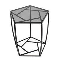 Bout de canapé 49,5x52x54,5 cm en verre fumé et métal