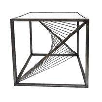 Bout de canapé design carré 45 cm en métal gris