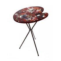 Table d'appoint forme palette de peinture en métal multicolore