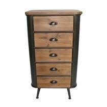 Chiffonnier 5 tiroirs 54x39,5x99 cm en bois et  métal marron et noir
