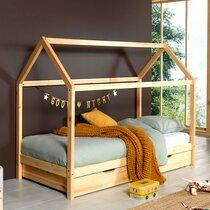 Lit cabane 90x200 cm avec tiroir en pin naturel - STANY