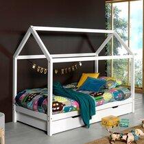 Lit cabane 90x200 cm avec tiroir en pin blanc - STANY