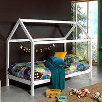Lit cabane 90x200 cm avec matelas en pin blanc - STANY