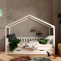 Lit cabane 90x200 cm avec tiroir en pin blanc - ROODY