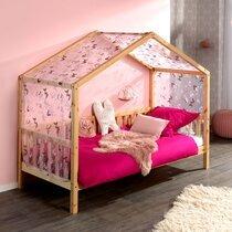 Lit cabane 90x200 cm en pin naturel avec textile décoré - ROODY