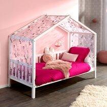 Lit cabane 90x200 cm en pin blanc avec textile décoré - ROODY