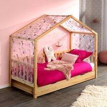Lit cabane 90x200 cm en pin naturel avec tiroir et textile - ROODY
