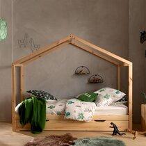 Lit cabane 90x200 cm avec tiroir en pin naturel - NINOU
